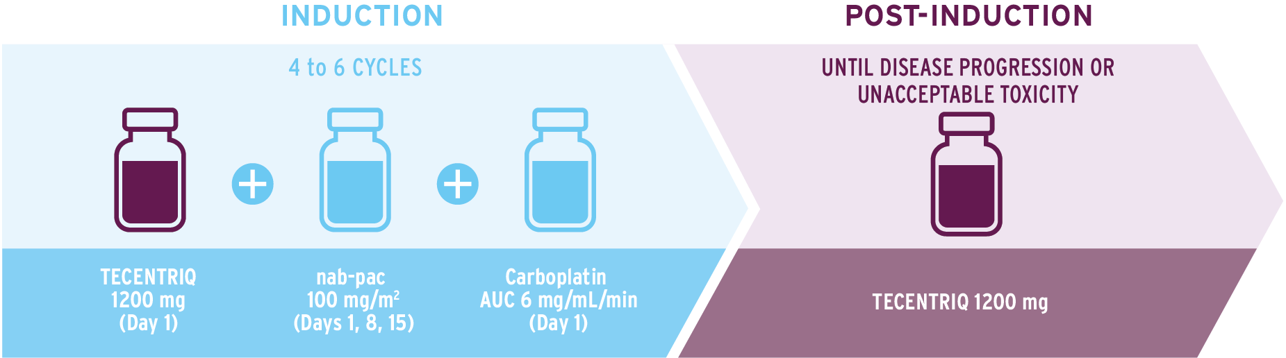 Infographic to illustrate how to administer TECENTRIQ in combination with nab-paclitaxel and carboplatin.