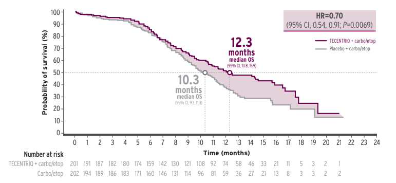 Line graph to illustrate OS outcomes in the IMpower133 trial.